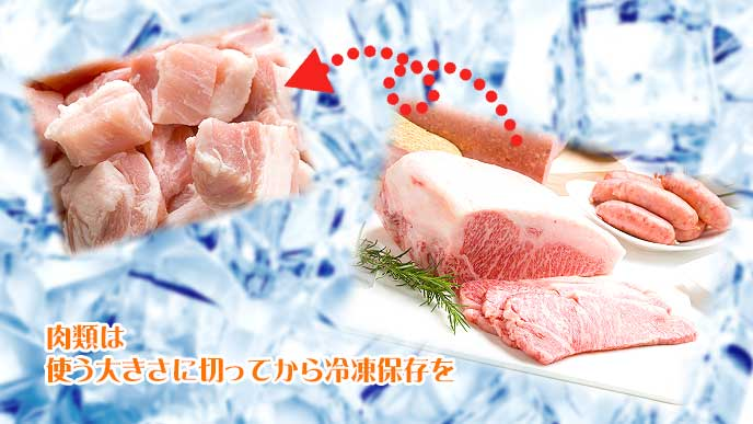 肉類は使う大きさに切ってから冷凍保存を
