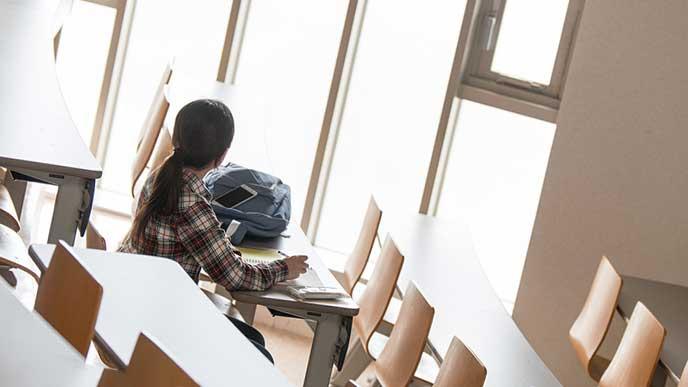 教室で一人残る大学生