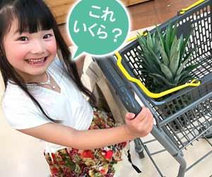 買い物しながら値段を聞く子供