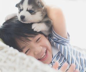 子犬と遊ぶ男の子