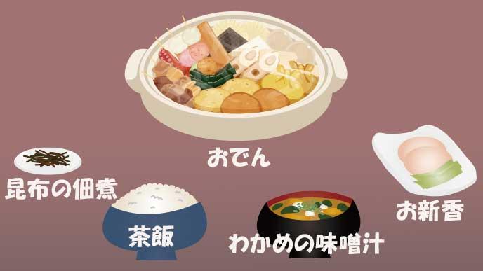 関西風のおでん定食の組み合わせ