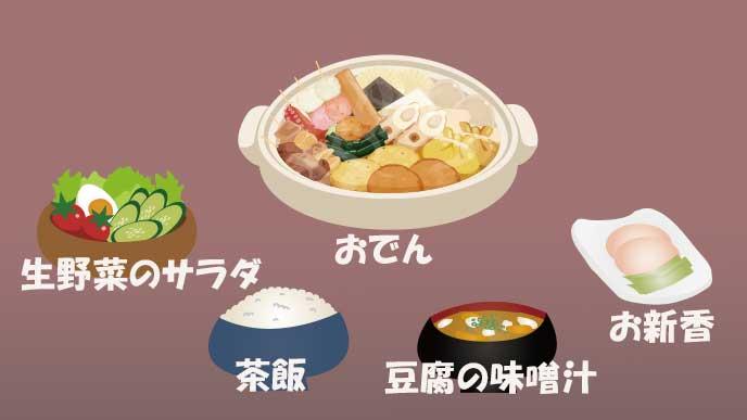 関東風のおでん定食の組み合わせ