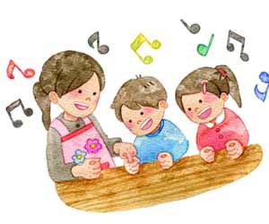 童謡で遊びながら歌う幼児