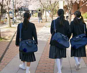 サクラの季節に通学する中学生