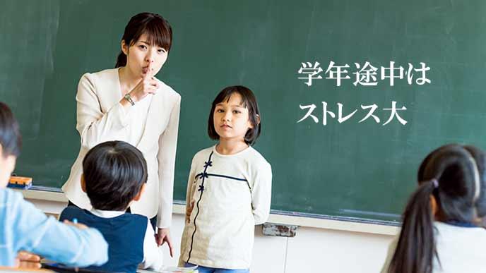 教室で転校生が挨拶する
