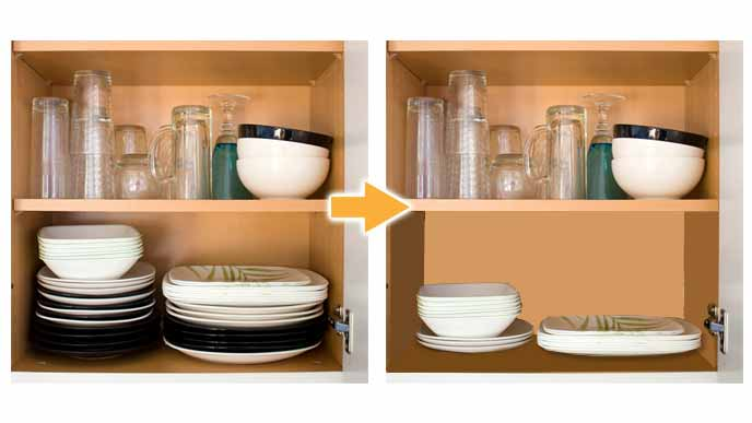 食器を重ねて収納する場合は2種類まで