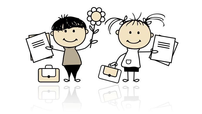 勉強の用意をする子供2人のイラスト