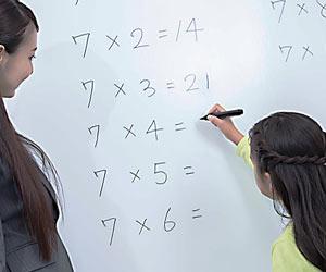 九九の計算をする小学生