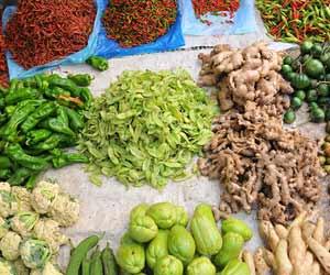 産直市場に並ぶ農産物