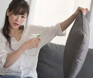 ソファのクッションに消臭スプレーをかける女性