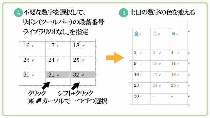 wordでカレンダー作成手順5