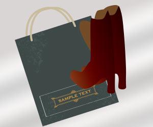 紙袋とブーツ