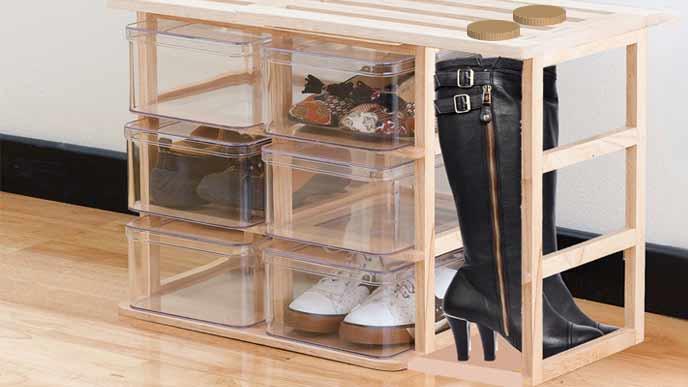 スノコ板とクリアケースで作る靴箱