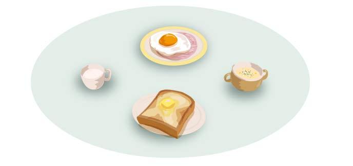 目玉焼きとトーストの朝食セット