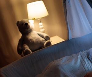 子供部屋の電灯とぬいぐるみ