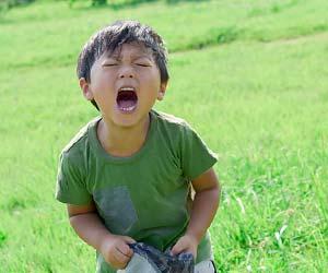 草地で一人叫ぶ子供
