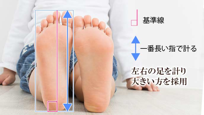子供の足のサイズを正しく測る