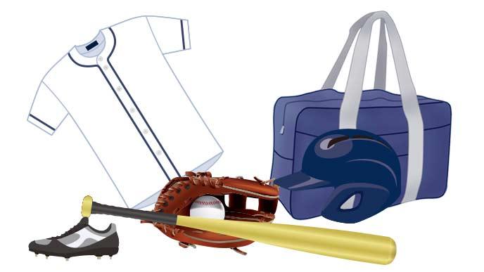 ローブやバッドなどの野球道具