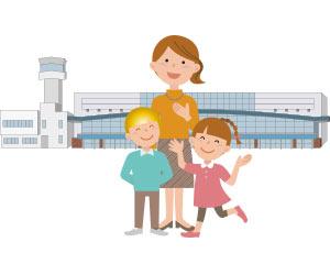空港で外人の子供を迎えるホストファミリー