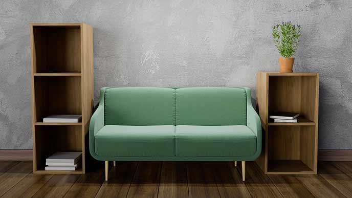ボックス棚を椅子を挟んで左右配置